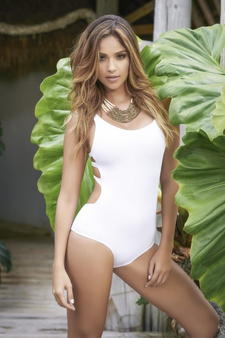 Mapale Medium White One Piece Swimsuit